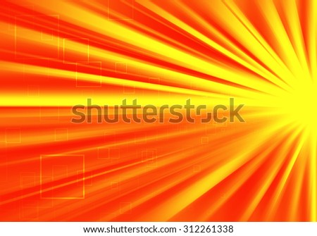 Orange ray lights technology defocused abstract background.