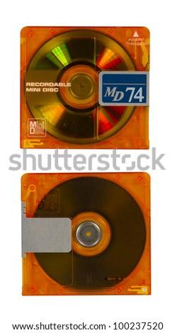 orange recordable mini disc on white isolated background - stock photo