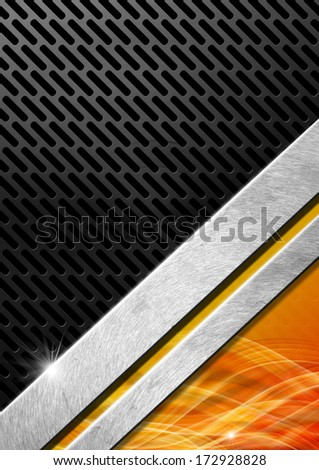 Orange Red and Metal Background with Grid / Orange, red black and gray abstract background with metallic grid and waves