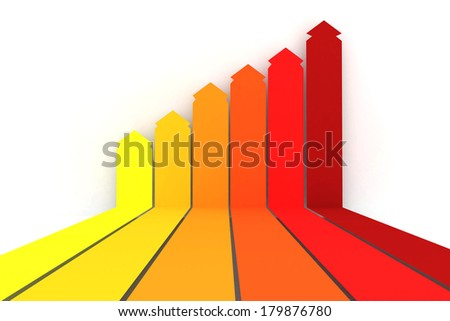 Orange red and yellow arrows on white background