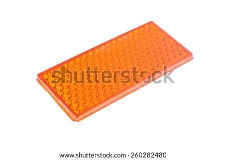 orange reflective car light isolated on white  - stock photo