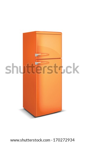 orange refrigerator - stock photo