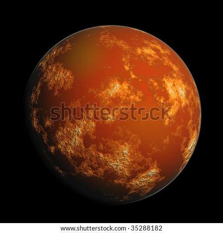 orange render planet Mars - stock photo