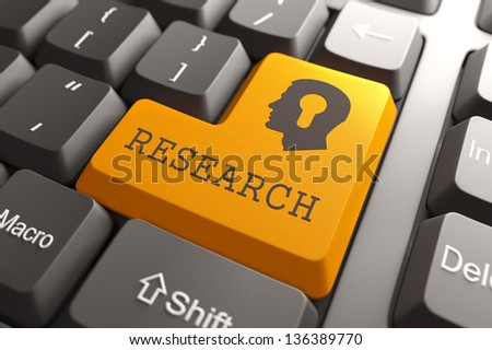 Orange Research Button on Computer Keyboard. Searching Concept. - stock photo