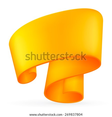 Orange ribbon. Abstract scroll paper vector background. Design element. Ribbon banner. Isolated on a white background. Raster copy. - stock photo
