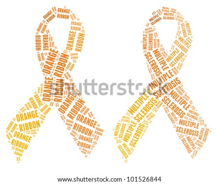 Orange ribbon campaign made from word illustrations isolated on white. - stock photo