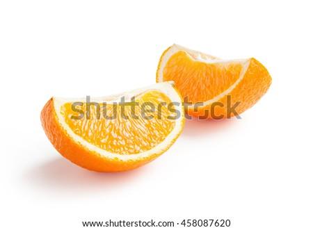 Orange. Ripe fresh orange slice isolated on white background - stock photo