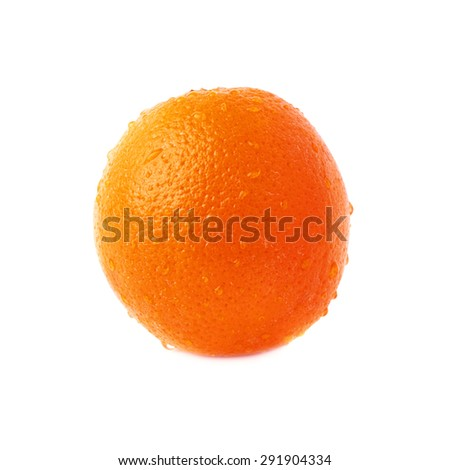 Orange ripe fruit covered with the multiple water drops, isolated over the white background - stock photo