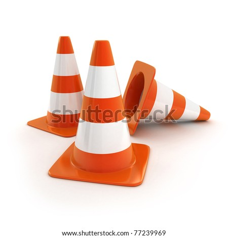 Orange road cones (isolated, done in 3d) - stock photo