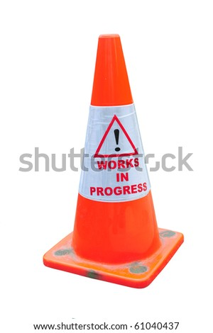 """Orange Road Warning Cone With """"Works In Progress"""" - stock photo"""