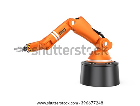 Orange robotic  arm isolated on white background.  3D rendering image with clipping path. - stock photo