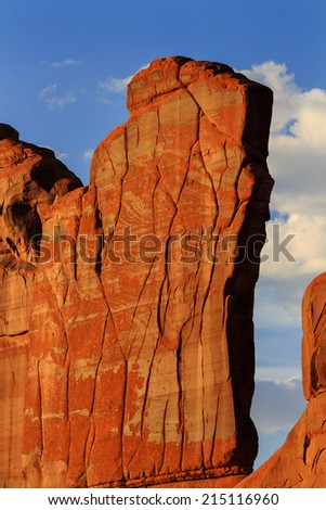 Orange Rock Wall Patterns Park Avenue Section Arches National Park Moab Utah USA Southwest. Classic sandstone rock wall at Sunset  in Arches National Park. - stock photo