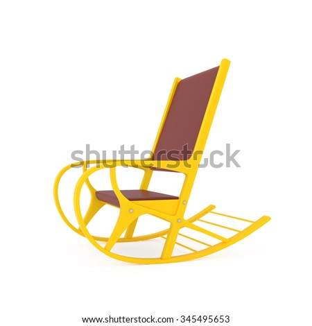 Orange Rocking Chair isolated on white - 3d illustration