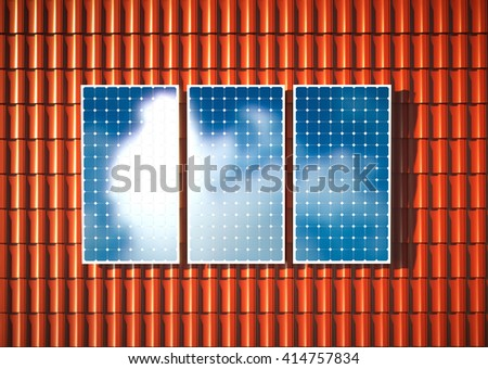Orange roof with photovoltaic. 3D rendering. - stock photo