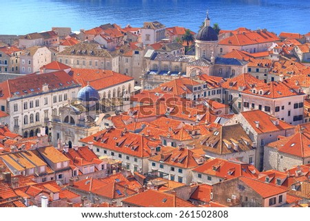 Orange rooftops and old churches of Dubrovnik old town, Croatia - stock photo