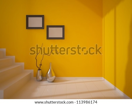orange room with stairs - stock photo