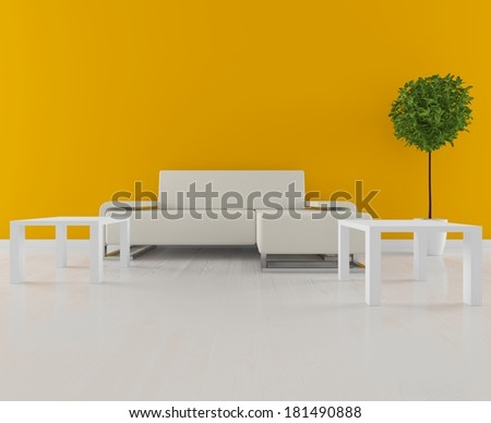orange room with white furniture and a green tree
