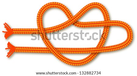 Orange rope in the shape of a heart (knot). Background for design. - stock photo