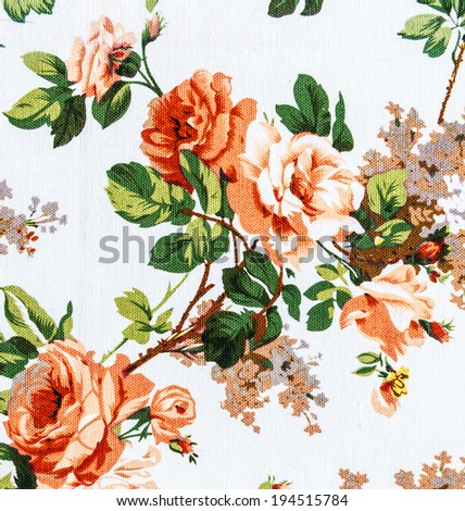 Orange rose fabric background, Fragment of colorful retro tapestry textile pattern with floral ornament useful as background  - stock photo