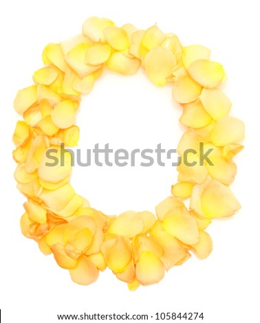 orange rose petals forming letter O, isolated on white