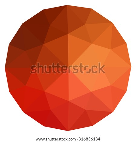 orange round gem isolated on white background. Yellow, orange polygonal sphere with gradient color low poly triangles. Topaz, sun, fireopal, citrine.