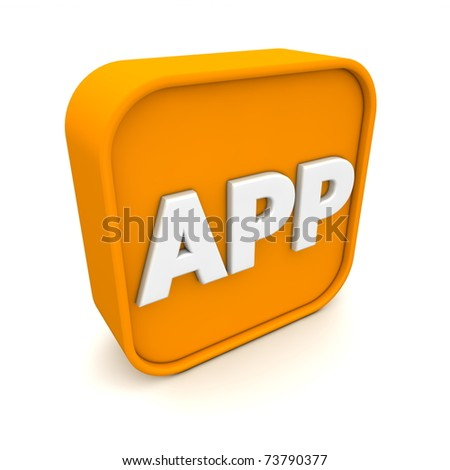 orange RSS like APP symbol rendered in 3D isolated on white ground - angular view