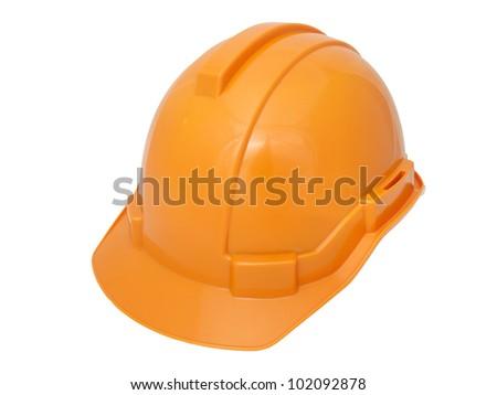 Orange Safety helmet isolated on white - stock photo