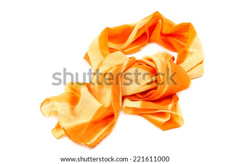 Orange scarf with tassels, isolated on white background. - stock photo