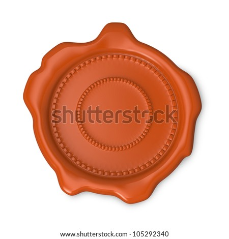 Orange seal of approval on white background - stock photo