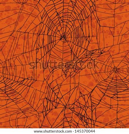 Orange seamless Halloween pattern - stock photo