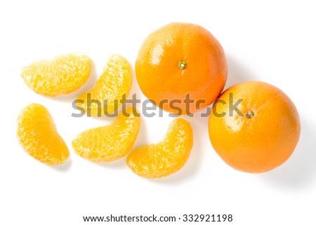 orange segment on white - stock photo