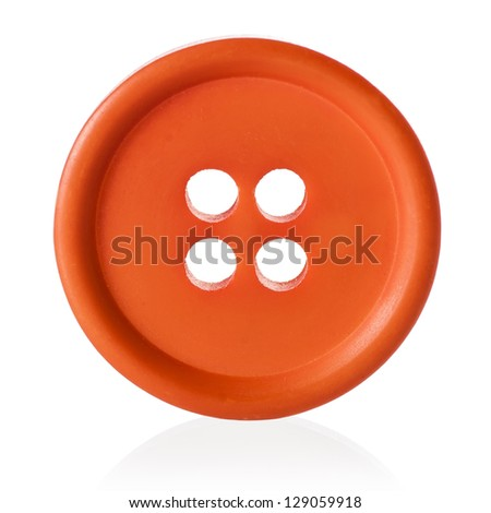 Orange sewing button isolated on white - stock photo