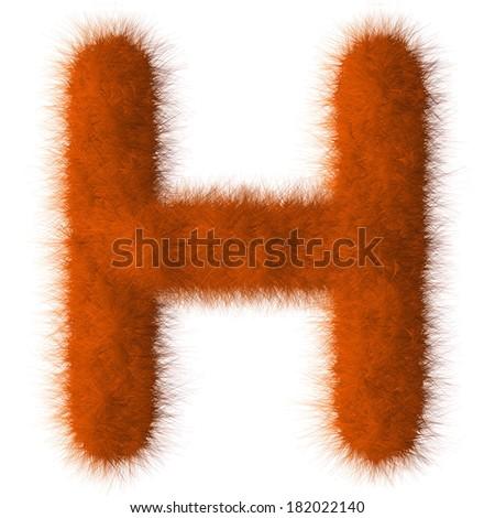 Orange shag H letter isolated on white background - stock photo