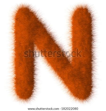 Orange shag N letter isolated on white background - stock photo