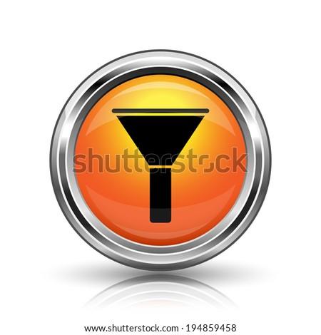 Orange shiny glossy icon on white background - stock photo