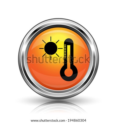 Orange shiny glossy icon on white background - stock photo