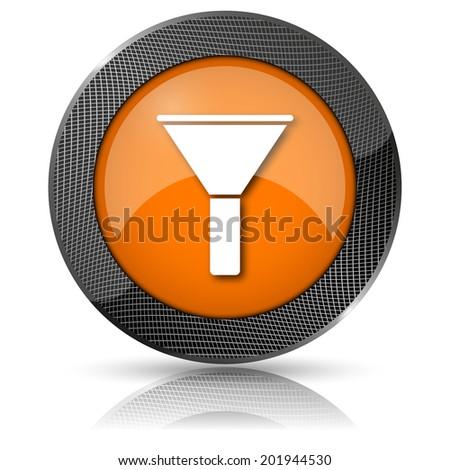 Orange shiny glossy icon on white background. - stock photo
