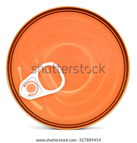 Orange shiny top of food can with pull-ring, isolated - stock photo