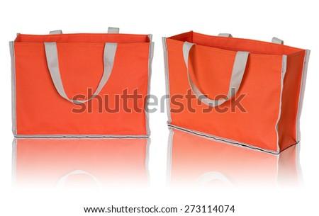 orange shopping bag on white background - stock photo