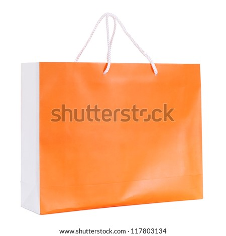 Orange shopping paper bag isolated on white with clipping path - stock photo