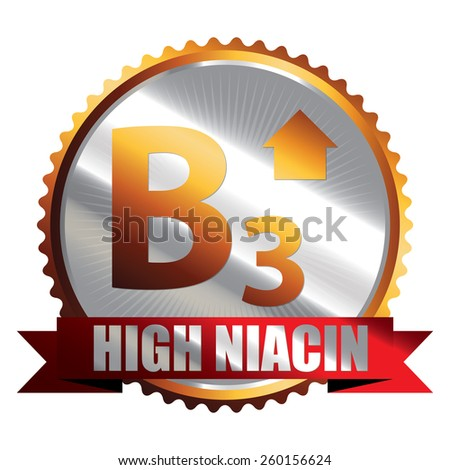 Orange Silver High Niacin B3 Vitamin Ribbon, Badge, Icon, Sticker, Banner, Tag, Sign or Label Isolated on White Background - stock photo