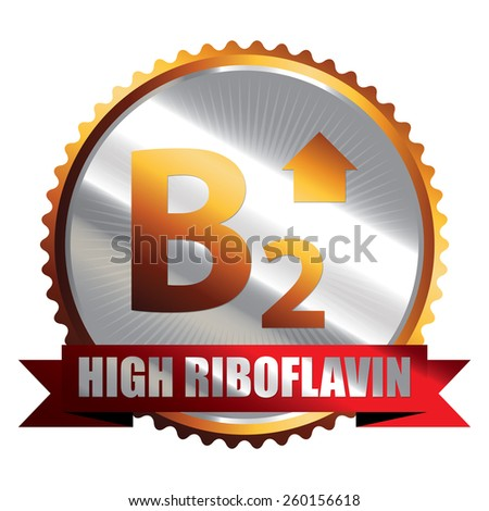 Orange Silver High Riboflavin B2 Vitamin Ribbon, Badge, Icon, Sticker, Banner, Tag, Sign or Label Isolated on White Background - stock photo