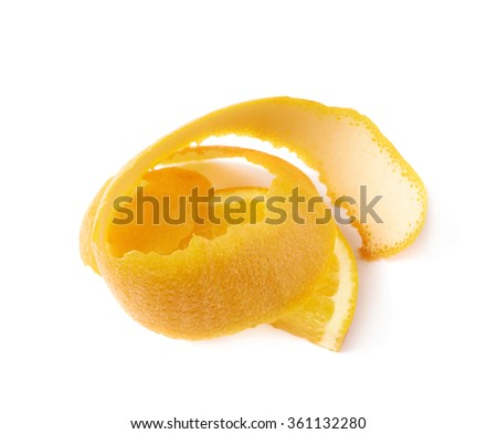 Orange slice and peel isolated