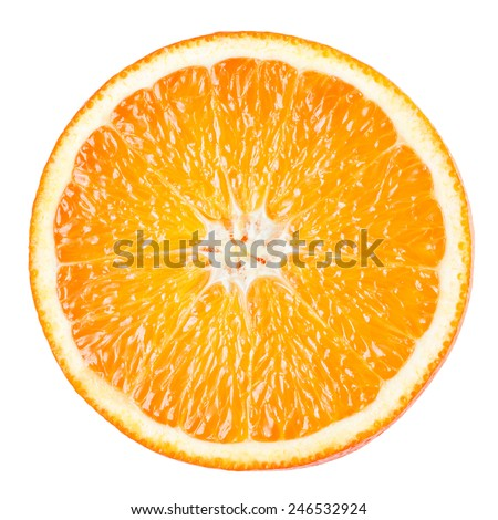 Orange slice isolated on white background - stock photo