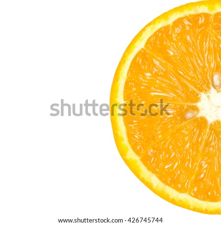 Orange slice on a white background