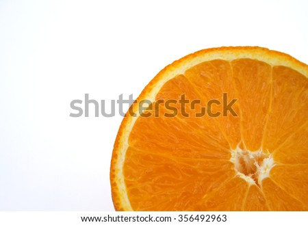 Orange slice on white background