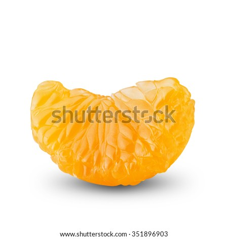 Orange Slice Peeled On White Background