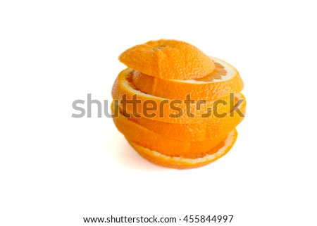 Orange sliced and stacked back together isolated on white
