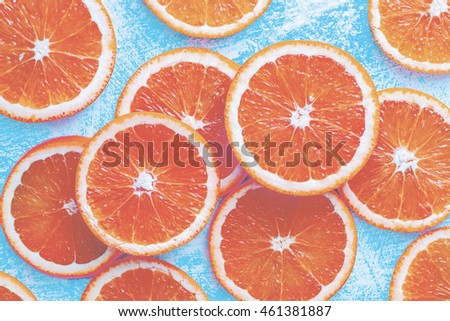 Orange sliced on a blue rustic wood table, Popular healthy fruit with yummy orange sliced