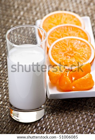 Orange Slices And Glass Of Milk On Placemat - stock photo